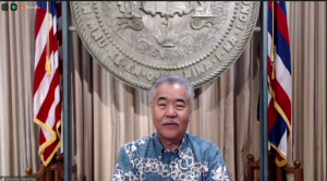 Gov. David Ige speaking at the Hawaii Green Business Programs awards